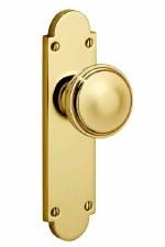 Victorian Constable 605K Door Knob On Latch Plate Polished Brass Unl