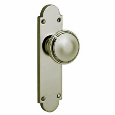 Victorian 605K Door Knob On Latch Plate Polished Nickel