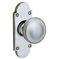 Victorian 607K Knob on Latch Plate  Polished Chrome