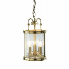 Lambeth 3 Light Hall Lantern Polished Brass