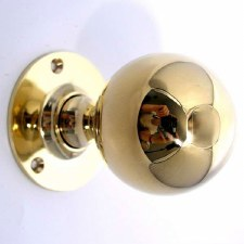 Aston Large Ball Rim Knobs Polished Brass Unlacquered