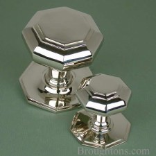 Large Octagonal Centre Door Knob Polished Nickel