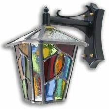 Leaded Outdoor Wall Lantern Multi Colour