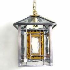 Leaded Pendant Chain Lantern Amber