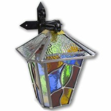 Leaded Outdoor Wall Lantern Large Multi Colour