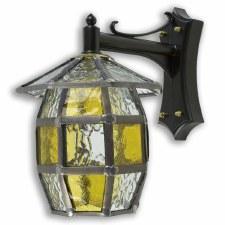 Leaded Outdoor Wall Barrel Lantern Amber & Clear