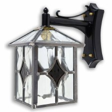 Leaded Outdoor Wall Lantern Clear & Amber