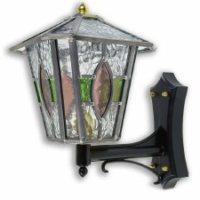 Leaded Outdoor Wall Lantern Red & Green