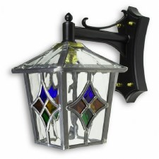 Leaded Outdoor Wall Lantern Clear & Multi Colour