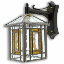 Leaded Outdoor Wall Lantern Amber
