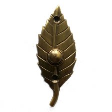 Leaf Bell Push Antique Satin Brass