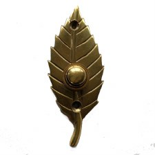 Leaf Bell Push Polished Brass Unlacquered