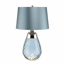 Elstead Lena Small Dual Light Blue Glass Table Lamp with Blue Shade