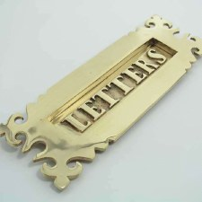 Fleur de Lys Letter Plate Polished Brass Unlacquered 300mm