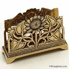 Letter Rack Art Nouveau Polished Brass