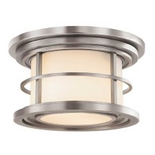 Feiss Lighthouse Outdoor Flush Wall Lantern Brushed Steel