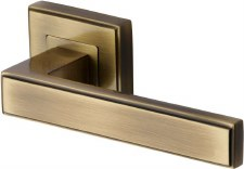 Heritage Linear Square Rose Door Handles DEC5430 Antique Brass Lacq