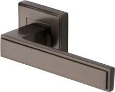 Heritage Linear Square Rose Door Handles DEC5430 Matt Bronze Lacq