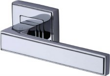 Heritage Linear Square Rose Door Handles DEC5430 Polished Chrome
