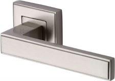 Heritage Linear Square Rose Door Handles DEC5430 Satin Nickel