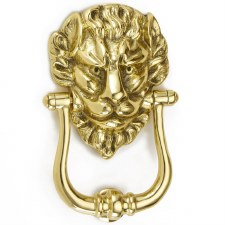 Croft Lion Head Door Knocker 1768 Polished Brass Unlacquered