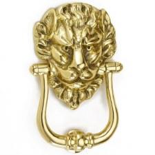 Croft Lion Head Door Knocker 1768 Polished Brass Unlacquered