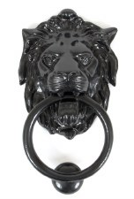 From The Anvil Lion Head Door Knocker Black
