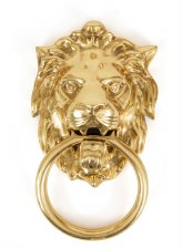 From The Anvil Lion Head Door Knocker Polished Brass