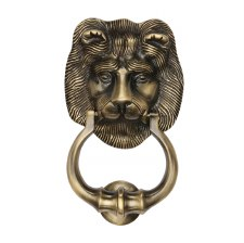 Heritage K1210 Lion Head Door Knocker Antique Brass Lacquered