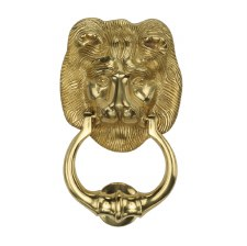 Heritage K1210 Lion Head Door Knocker Polished Brass Lacquered