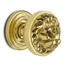 Croft 1734 Lion Head Door Knobs Polished Brass Unlacquered