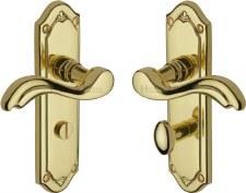 Heritage Lisboa Bathroom Door Handles MM993 Polished Brass Lacquered