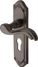 Heritage Lisboa Euro Lock Door Handles MM994 Matt Bronze