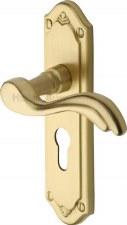 Heritage Lisboa Euro Lock Door Handles MM994 Satin Brass Lacquered