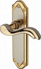 Heritage Lisboa Latch Door Handles MM992 Satin Nickel & Gold