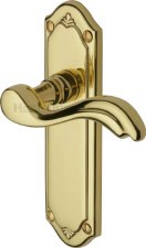 Heritage Lisboa Latch Door Handles MM992 Polished Brass Lacquered