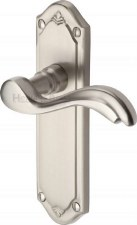Heritage Lisboa Latch Door Handles MM992 Satin Nickel