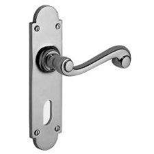 Victorian Constable 604PU Oval Hole Door Lock Handles Polished Chrome