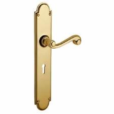Victorian Constable 609/2 Door Lock Handles Polished Brass Unlacquered
