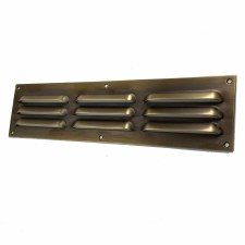 "Louvre Air Vent 12"" x 3"" Antique Brass Unlacquered"