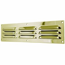 "Louvre Air Vent 12"" x 3"" Polished Brass Unlacquered"