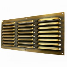 "Louvre Air Vent 12"" x 6"" Antique Brass Unlacquered"