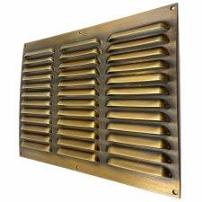 "Louvre Air Vent 12"" x 9"" Antique Brass Unlacquered"