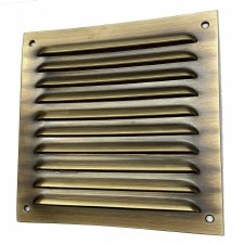 "Louvre Air Vent 6"" x 6"" Antique Brass Unlacquered"