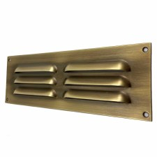 "Louvre Air Vent 9"" x 3"" Antique Brass Unlacquered"