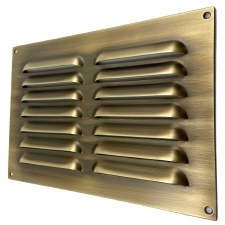 "Louvre Air Vent 9"" x 6"" Antique Brass Unlacquered"