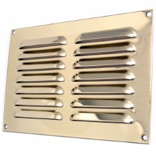 "Louvre Air Vent 9"" x 6"" Polished Brass Unlacquered"