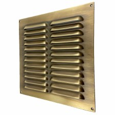"Louvre Air Vent 9"" x 9"" Antique Brass Unlacquered"