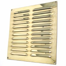 "Louvre Air Vent 9"" x 9"" Polished Brass Unlacquered"