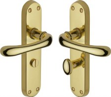 Heritage Luna Bathroom Door Handles LUN5330 Polished Brass Lacquered